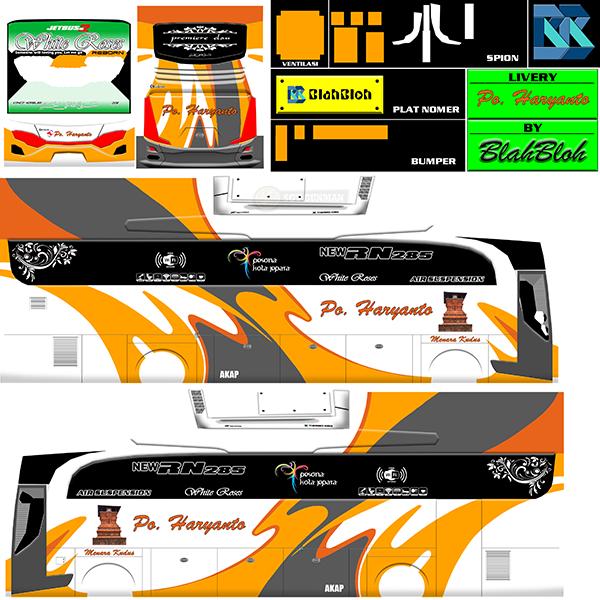 Livery BUSSID Bus HD Ori - Hr 008 White Roses - Livery-BUSSID.com