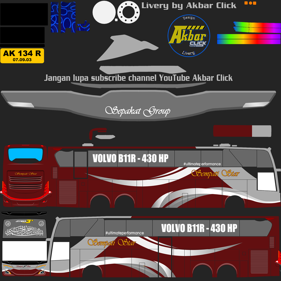 Livery BUSSID JB3+ UHD VOLVO B11R BY MD CREATION Sempati Star