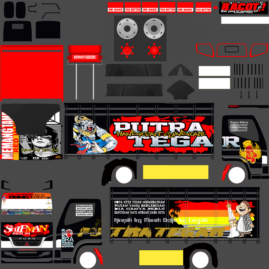 Livery BUSSID Truck Canter V2 Varian A Shipman Red in Black